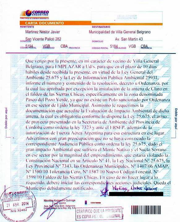Emplazan por carta documento a municipio de VGB